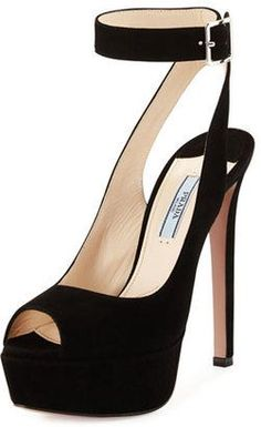 Prada Suede Platform Ankle-Strap Sandal Nero #heels #peeptoe