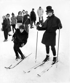 Beatles Skiing 1965 | From a unique collection of black and white photography at https://www.1stdibs.com/art/photography/black-white-photography/
