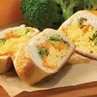 Egg Creations  - Broccoli & Cheddar Scramble Stromboli - Great way to combine everyone's favourite take-out treat with breakfast for dinner! Check out this recipe. #EggCreations #BurnbraeFarms