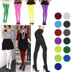291ca0d20e6d2 Autumn Winter Solid Opaque Pantyhose Stockings Tights 15 Candy Colors 2  Sizes US – Women's Clothing