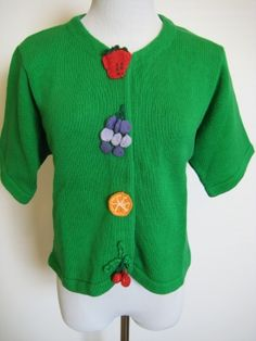The Eagles Eye Vintage Lime Green Knit Applique Sweater Top Cardigan Size M $99.99