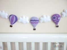 Hot Air Balloon Garland - Bunting - Banner - Orchid, Lavender and Mauve - Moveable