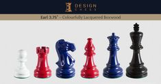 The Earl is a very special set of colourfully lacquered, premium quality chess pieces. The selection of the colours is up to you; you can choose two, three or even four of them!  The pieces are 100% handmade by India's best chess artisans. Each set is equipped with double queens.