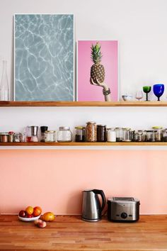Colorful Kitchen Decor, Kitchen Colors, Tiny Apartments, Floating Shelves, Shelving, Gallery Wall, Comme, Design, Homeland