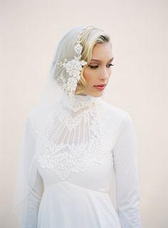 Lace Adorned Mantilla Wedding Veil Gold by veiledbeauty on Etsy