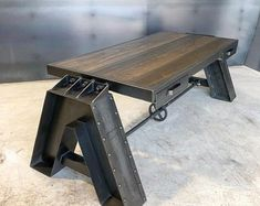 The Belfast table Industrial Style Coffee Table, Industrial Living, Industrial Furniture, Rustic Furniture, Cool Furniture, Furniture Design, Vintage Industrial, Belfast, Warm Home Decor