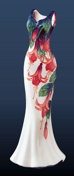 Benaya Ceramic Art | Fuchsia Garden Porcelain Dress Vase, Hand Painted Ceramic