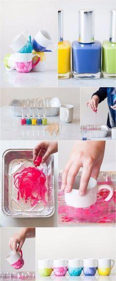 Você já pensou em decorar as suas xícaras com esmaltes? Elas ficam lindas e alegres! :D #decoração #design #madeiramadeira
