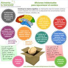 Actividades intelectuales para rejuvenecer el cerebro #infografia #alimentatubienestar