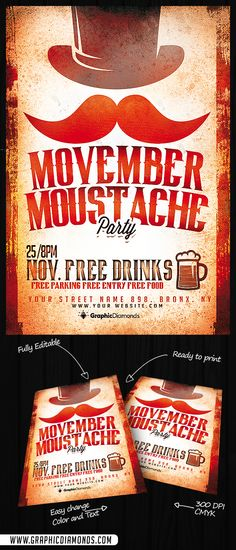 Movember Mustache Party Flyer PSD by GraphicDiamonds on Creative Market