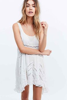Free People Voile Lace Trapeze Slip Dress in White - Urban Outfitters