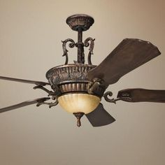 Add some Mediterranean flair to a living room or bedroom with the Cortez ceiling fan from Kichler. Style # at Lamps Plus. Elegant Ceiling Fan, Classic Ceiling, Ceiling Fan Chandelier, Bronze Ceiling Fan, Ceiling Hanging, Chandeliers, Antique Ceiling Fans, Traditional Ceiling Fans, Hunter Ceiling Fans