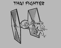 Thai Fighter T-Shirt - Star Wars Tie Fighter Funny Shirt - Free Shipping. $15.00, via Etsy.
