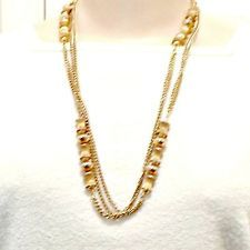 MONET necklace goldtone hourglass beads textured shiny double chain 53 inch vtg in Jewelry & Watches, Fashion Jewelry, Necklaces & Pendants   eBay