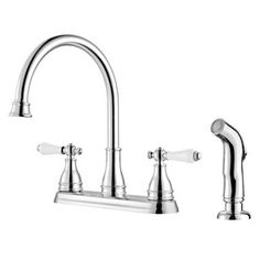 Pfister�Sonterra Polished Chrome 2-Handle High-Arc Kitchen Faucet with Side Spray. For utility sink