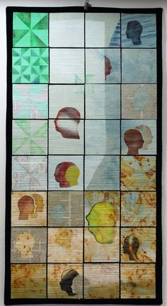 """"""" Home"""" , dyed, printed, rust, stenciled, painted, machine quilted"""