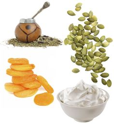 17 Power Food Options  -- Healthy snack ideas for life's most demanding moments:  Yerba Mate*  Pumpkin Seeds*  Dried Apricots*  Plain Low-Fat Yogurt*  Brown Rice*  Rainbow Trout*  Dark Chocolate*  Acerola Juice*  Whey Protein*  Low-Fat Ricotta* Cherries*  Sage* Blueberries*  Edamame*  Coffee*  Chili Peppers*  Watermelon*