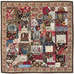 Crazy Quilt (1880-1890). 'Pictorial crazy quilt pieced from printed cotton fabrics featuring portraits of president James A. Garfield, Santa Claus, Aesthetic figures and vegetables, children, and animals.'  Image and text courtesy MFA Boston. Textiles, Printed