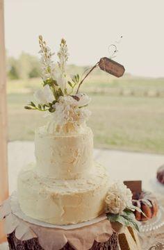 Beautiful, rustic, round-tiered, buttercream wedding cake