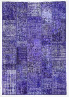 Violet Rug Patchwork Vintage Turkish 8'x5.5' by bazaarbayar
