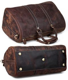 Men's Vintage Leather Travel Bag / Luggage / Duffle Bag / Sport Bag / Weekend Bag