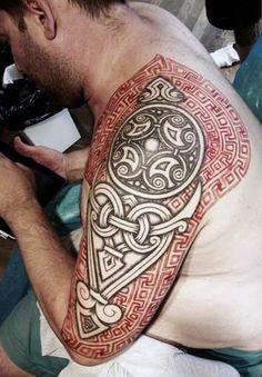 Viking Runes Tattoo Men Half Sleeve