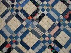 Memory Quilt - Modified Rail Pattern Looks like old fashion pattern Strip Quilts, Blue Quilts, Easy Quilts, Quilt Blocks, Rail Fence Quilt, Postage Stamp Quilt, Plaid Quilt, Nine Patch Quilt, Homemade Quilts