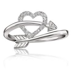 Heart & Arrow Diamond Ring in Sterling Silver