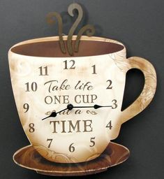 "Wooden Coffee Clock ""Take Life One Cup at a Time""Measures: Large coffee cup clock. Great décor item for kitchen or coffee area. Measures: 15 x x Coffee Theme Kitchen, Coffee Bars In Kitchen, Coffee Bar Home, Cafe Themed Kitchen, Coffee House Decor, Coffe Bar, Best Coffee, My Coffee, Coffee Drinks"