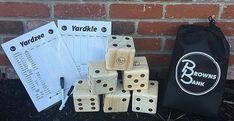 Giant Outdoor Wooden Yahtzee Game Lawn Dice Set Dry Erase Score Cards Wood Yard #BrownsBank