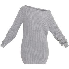 Larissa Grey Off The Shoulder Knitted Dress (94 BRL) ❤ liked on Polyvore featuring dresses, gray knit dress, off shoulder dress, knit dress, gray dress and grey knit dress
