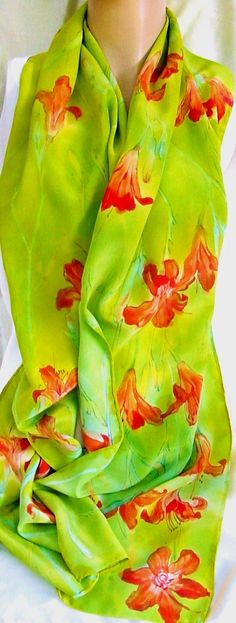 silk scarf Large Day Lily painted dyed chartreuse by morgansilk, $200.00 #bmecountdown