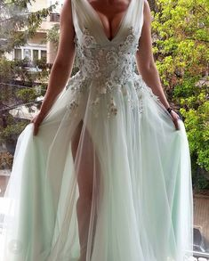 005555bbb3 Deep V Neck Beaded Flowers Tulle Ruched Sleeveless A-line Women Formal  Evening Wear Party