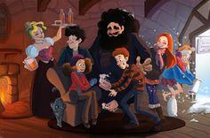 WallPotter: Harry Potter,  Hagrid, Luna Lovegood, Hermione Gra...