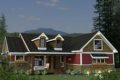 House Plan 51-520, 1 story (2nd story bonus room with bathroom), 2034 sq. ft., 4 to 5 bedrooms