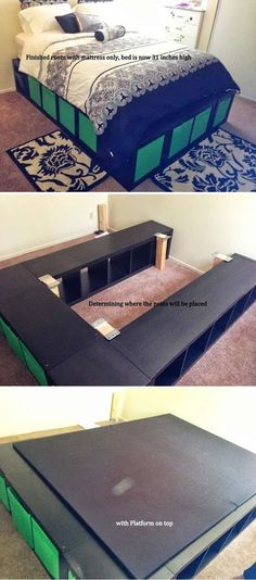 Expedit Queen Platform Bed | Creative Pieces Of Wood For A New Bedroom With A Storage by DIY Ready at http://diyready.com/14-diy-platform-beds/