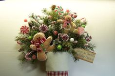christmas greenery swags   Christmas Stocking Gingerbread Wreath Swag Primitive Door Wall Mantel ...