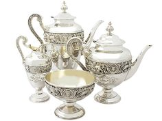 Sterling Silver Four Piece Tea and Coffee Service - Antique Victorian  SKU: A3368 Price  GBP £5,650.00  http://www.acsilver.co.uk/shop/pc/Sterling-Silver-Four-Piece-Tea-and-Coffee-Service-Antique-Victorian-97p3391.htm#.Vjnw4Cs8rfc