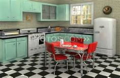 1950's Kitchen | Red & Aqua!