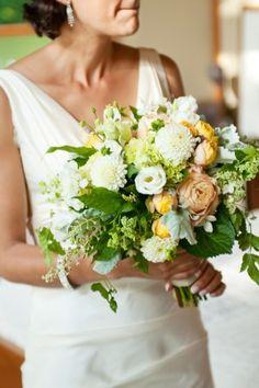 White-Peach-Green-Wedding-Bouquet #ElizabethAnneDesigns