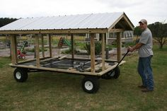 Our portable goose coop built on a wagon frame to make it easier to move on our uneven pastures. Description from backyardchickens.com. I searched for this on bing.com/images