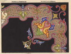 Pattern from 'Journal des desmoiselles' 1865-1869 Lith. La Vapeur de Dupuy Cross Stitch Embroidery, Embroidery Patterns, Mandala Design, Needlepoint, Prints, Artwork, Berlin, Pie, Pai