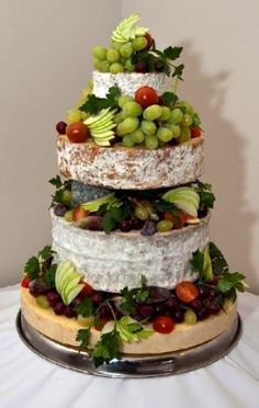 Cheese tower - alternative to Wedding Cake, or just a darn good way to show off the cheese, for those who love cheese. Unusual Wedding Cakes, Blush Wedding Cakes, Big Wedding Cakes, Square Wedding Cakes, Amazing Wedding Cakes, Wedding Cake Toppers, Wedding Cakes Made Of Cheese, Cheese Tower, Traditional Wedding Cakes