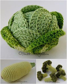 Green Vegetables by Olga from www.olinohobby.com #Amigurumi #Food