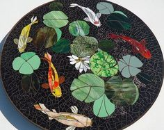 Articoli simili a CUSTOM KOI stained glass mosaic table top or wall medallion - indoor or outdoor use - garden patio furniture and decor - made to order su Etsy
