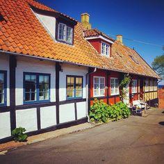 Half-timbered houses in Svaneke, Bornholm, Denmark