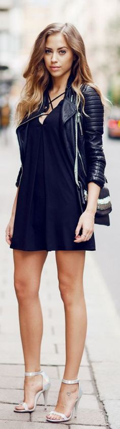 Best Street Oufits | Leather Moto , Dress and Whi...