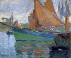 Artist: Edith Lake Wilkinson. Lovely painting of sail boats.