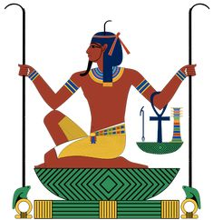An ancient Egyptian god,Heh represents the concept of infinity or eternity and the hieroglyph depicting him represents the number one million. He holds a pair of notched palm branches which signify 'year'.