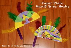 Make a Mardi Gras mask out of paper plates, popsicle sticks and feathers!
